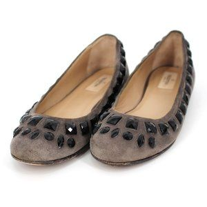 Valentino Gray Suede Embellished Round Toe Flats